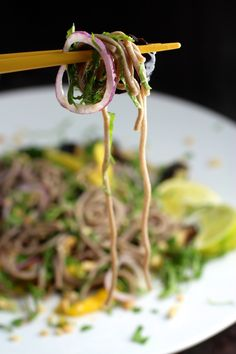 Mmm! Eggplant with soba noodles and mango, red onion, basil, chile lime dressing