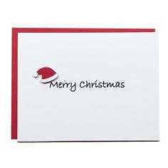 Merry Christmas Santa Hat Card   Christmas Card