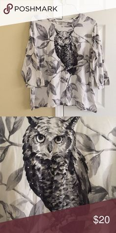 🎈SALE🎈 Owl shirt Like new beautiful detailed owl with studs Alfred Dunner Tops