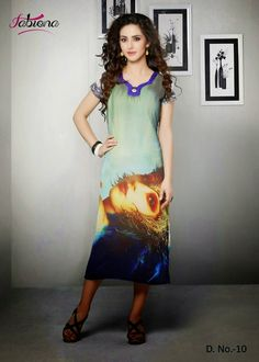 Beautifully Designed Digitally printed Pista Green Georgette Kurti. Modernized and trendy looking Party wear stuff.