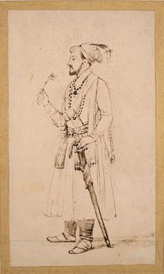 Rembrandt Harmensz. van Rijn    Shah Jahan, Standing with a Flower and a Sword    India (1654-56)    Pen and brown ink with brown wash on Japanese paper.      The Frick Collection, New York