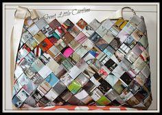 Je dois être dans ma période éco-citoyenne puisque après les trousses en compote gourde, voici le sac à main réalisé avec des pages de magas...