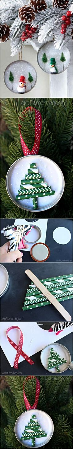 Mason Jar Lid Ornament (Straw Christmas Tree) | DIY Crafts Club