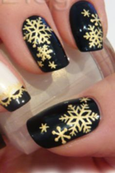 black and gold holiday nails - Google Search