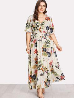 SHEIN Floral Plus Size White Dress Women Maxi Long Dresses Large Sizes Print V-neck Button Front Shirred Waist Tropical Dress Floral Plus Size Dresses, Floral Maxi Dress, Half Sleeve Dresses, Long Dresses, Modest Dresses, Vestidos Plus Size, White Dresses For Women, Looks Plus Size, Tropical Dress
