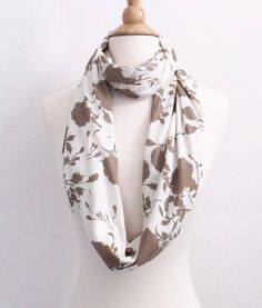 Floral Beige Scarf Natural Infinity Scarf Floral by SewBirdiful