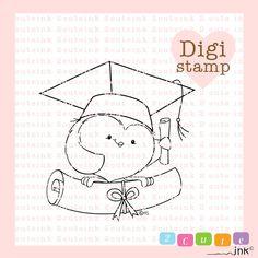 Laurea gufo timbro digitale per la fabbricazione di carta, carta artigianale, Scrapbooking, ricamo a mano, inviti, adesivi, decorazione di Cookie