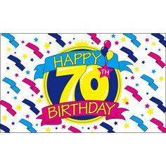 Happy Birthday vlag 70. Deze verjaardagsvlag voor een 70e verjaardag heeft een formaat van ongeveer 150 x 90 cm en is gemaakt van polyester materiaal.