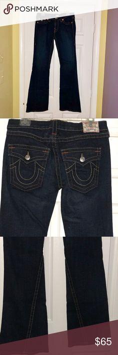 """Authentic Designer Jeans True Religion size 31 True Religion Joey blue Women's Flare leg Jeans size 31. Excellent condition  Low Rise 99% cotton 1% elastic  Measurements (flat)  Waist: 16"""" Front Rise: 8""""  Back rise 13"""" Hip: 19 1/4 Inseam: 33"""" Outseam: 41.5"""" Leg opening: 10"""" True Religion Jeans Flare & Wide Leg"""