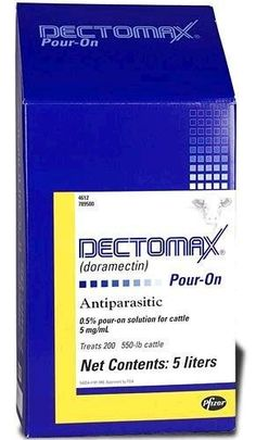 Dectomax Pour-on, 250ml by Pfizer. $36.80. Dectomax Pour-On - 250ml Pfizer Animal Health  (Doramectin) For treatment and control of internal and external parasites in one convenient application. Effective against roundworms, lungworms, grubs, lice and mange mites. Apply at 1 ml for each 22 lbs. of body weight. Apply topically along the mid-line of the back from the withers to the tailhead. Dispenser included with 250 ml and 1000 ml sizes.