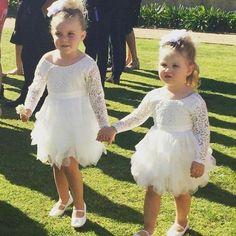 Cute White Knee Length Flower Girl Dresses Long Sleeves Ruffles Toddler Infant Birthday Christmas Dress Tea Length Beads Girls Wedding Party Gowns from