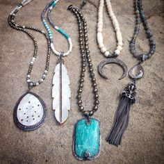 Gemstone and pave diamond necklaces. Handmade and one of a kind.  www.lisajilljewelry.com