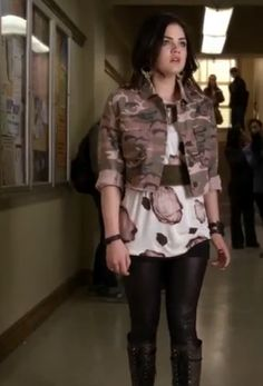 "Aria's Pink Camo Jacket and Rose Print Top Pretty Little Liars Season 4, Episode 1: ""A' is for A-l-i-v-e"" - Spotted on TV"