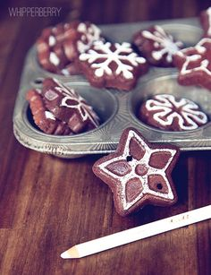 Chalk on your cinnamon apple sauce ornaments to look like icing...i love the idea of pressing the dough into the pan, makes for such great shapes!
