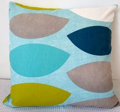 Geometric retro light blue, yellowish green, turquoise blue, grey and dark blue cushion Cover, $25