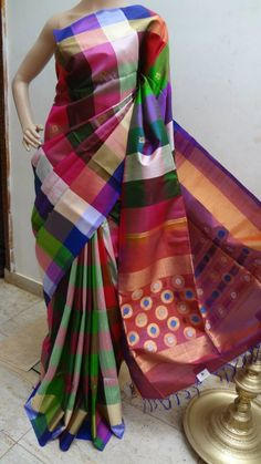 Latest Rawsilk Multi Color Checks Saree