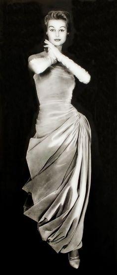 1956 - Madame Grès dress , October , L'Art et la Mode Photo by George Saad