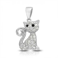 Too cute for a cat lover Bling Jewelry, Pendant Jewelry, Jewelry Necklaces, Pendant Necklace, Loose Diamonds For Sale, Princess Kitty, Cat Necklace, Discount Jewelry, Animal Jewelry
