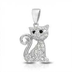 Pave CZ Kitty Cat Pendant Sterling Silver