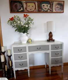 """Stunning Restyled Surpentine Dresser / Desk    A beautiful solid rimu dressing table / desk recently painted in Annie Sloan """"Old White"""" and """"French Linen"""" chalk..."""