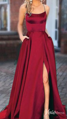 Cheap burgundy spaghetti strap long prom dresses with pockets. #promdresseslong #prom #eveningdresses #eveninggowns #formaleveningdresses #militaryballgown #promdresses #promdresseslong