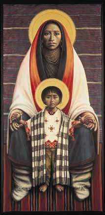 Hopi Virgin & Child II by Fr. John Giuliani  The hands of this Hopi Virgin Mother join with the gentle reach of her son in expressing the prophetic pain of human love and separation. Theirs is a cannon destiny--the return of the gift received.