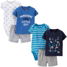 Carters® Boys' 3-piece Diaper Cover Set, 2-pack-Blue and White/Mustaches $18.99