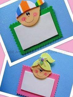 Crachás feitos de EVA com moldes - ENSINANDO COM CARINHO Kids Crafts, Foam Crafts, Preschool Crafts, Diy And Crafts, School Projects, Projects To Try, Puppet Crafts, Class Decoration, Borders For Paper