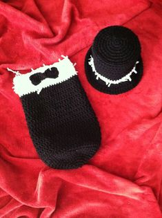 Crocheted Baby First Tuxedo Hat & Cocoon Set on Etsy, $25.00