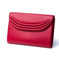 Lipstick Red Stretta - Lauren Cecchi New York Red Clutch, Leather Clutch, Leather Purses, Leather Handbags, Red Leather, Women Accessories, Fashion Accessories, Red Handbag, Red Lipsticks