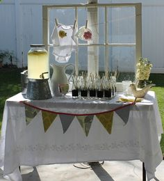 Old Window with clothes line of baby clothes -cute tabletop backdrop