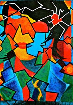 A cubist piece I painted a few years ago, inspired by Picasso. Cubist Paintings, Cubism, Pablo Picasso, Random Stuff, Portraits, Inspired, Kunst, Random Things, Head Shots