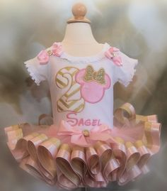 Pink and Gold Minnie Mouse Second Birthday  Girl's Tutu Outfi  2 pieces by LittleKeikiBouTiki on Etsy
