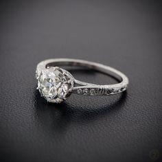 1.49ct Solitaire Old Mine Cut Diamond Engagement Ring - Estate Diamond Jewelry by EstateDiamondJewelry on Etsy https://www.etsy.com/listing/215540337/149ct-solitaire-old-mine-cut-diamond
