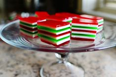 Pretty layered Christmas Finger Jello. Pick up and eat with your hands!