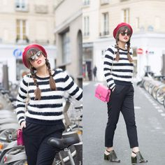 Get this look: http://lb.nu/look/7835400  More looks by Nikita Wong: http://lb.nu/meetmeinparee  Items in this look:  Les Petites Stripey Jumper, Florian London Pink Bag   #casual #chic #street #paris #cute #beret