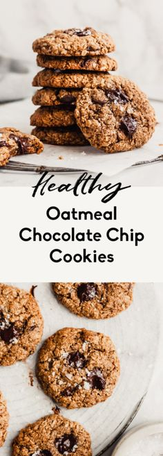 Healthy oatmeal chocolate chip cookies that are vegan & gluten free! This easy healthy oatmeal cookie recipe takes only 20 mins from start to finish. Healthy Oatmeal Cookies, Healthy Cookie Recipes, Oatmeal Cookie Recipes, Oatmeal Chocolate Chip Cookies, Healthy Baking, Dessert Recipes, Cookies Vegan, Healthy Desserts, Vegan Sweets