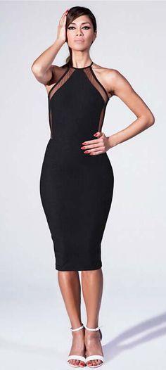 The new summer women s fashion sleeveless halter sexy black mesh elastic  harness dress Slim package hip 9c9cd3332629
