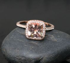 14k+Rose+Gold+8mm+Morganite+Cushion+and+by+Twoperidotbirds+on+Etsy,+$850.00