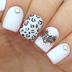 White, black, gold, leopard and rhinestones nail art design