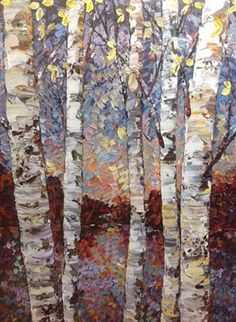 Paint Walls, Hand Painted Walls, Birch Tree Art, Aspen Wood, Birches, Tree Oil, Landscape Art, Oil Paintings, Painting & Drawing