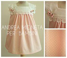 Vestido de Piqué y Tiras Bordadas para Bebé o Niña. Pink Dress for Baby 054. Marca Internacional Andrea Moneta Per Bambini www.andreamoneta.wix.com/perbambini  Argentina  www.andreamoneta.dmtienda.com  Venezuela www.amonetah.mercadoshops.com.ve