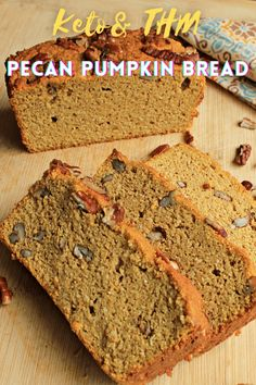 Keto Pecan Pumpkin Bread is a delicious pumpkin bread with lots of toasty pecans running through out. It is the perfect sugar free snack with an afternoon cup of coffee or a quick breakfast on the go. Quick Bread Recipes, Easy Bread, Low Carb Recipes, Best Low Carb Bread, Lowest Carb Bread Recipe, Keto Bread, Sugar Free Snacks, Sugar Free Desserts, Dessert Recipes