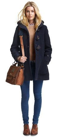 Preppy winter wear!  Navy blue coat, brown leather bag, brown boats, skinnys, tan jumper & checked shirt