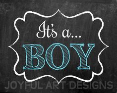 Gender Reveal Printable sign. It's a BOY. It's by JoyfulArtDesigns