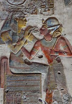 "The goddess Iousas is giving pharaoh Seti I the breath of life, in the form of an ""ankh"" sign (symbolizing life) flanked by two ""was"" sceptres (symbols for prosperity). Egyptian Mythology, Ancient Egyptian Art, Ancient Aliens, Ancient History, European History, Ancient Greece, Life In Ancient Egypt, Architecture Antique, Fresco"