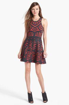 Parker Clarence Knit Fit Flare Dress in Black (Black/ Cardinal) santana's dress on glee