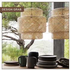 IKEA SINNERLIG Pendant Lamp | Woven from clear-varnished, sustainable bamboo, the latticed effect of these pendant shades is tactile and unique. The scale has real presence: set two close together above a rustic dining table to amp up the warmth. Learn more » http://www.ikea.com/ca/en/catalog/products/70315030/