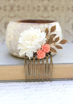 Bridal Hair Comb White Rose Comb Coral Rose by apocketofposies