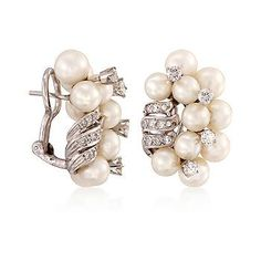 Ross-Simons - C. 1970 Vintage 5.2-6.2mm Cultured Pearl and 1.15 ct. t.w. Diamond Cluster Earrings in 14kt White Gold - #811221